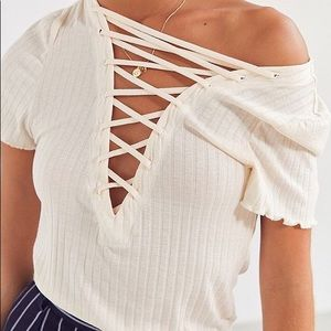 Urban Outfitters Tops - NWT UO Project Social T Cream Ribbed Lace Up Tee